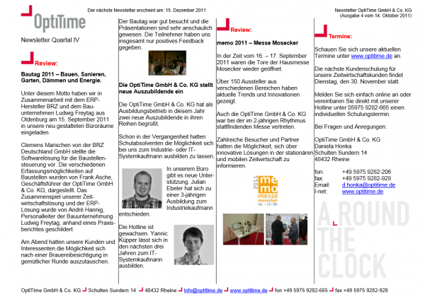 Newsletter viertes Quartal (14.10.2011)