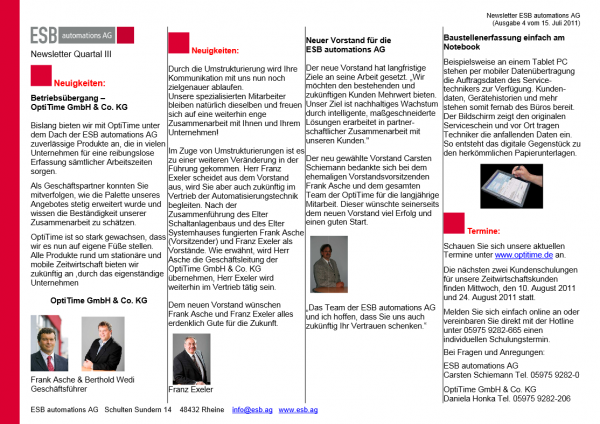 Newsletter drittes Quartal (15.07.2011)