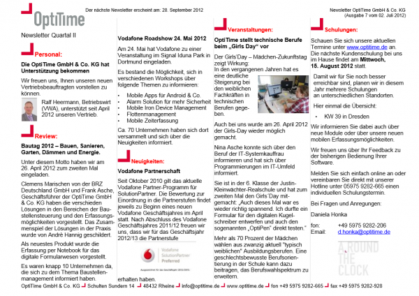 Newsletter zweites Quartal (02.07.2012)