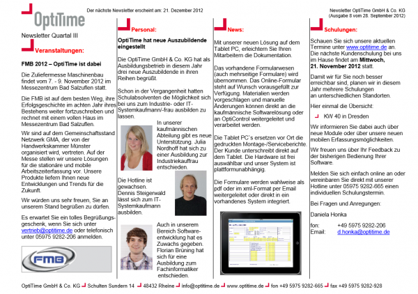 Newsletter drittes Quartal (28.09.2012)