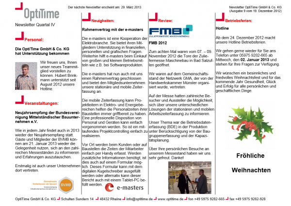 Newsletter viertel Quartal (19.12.2012)
